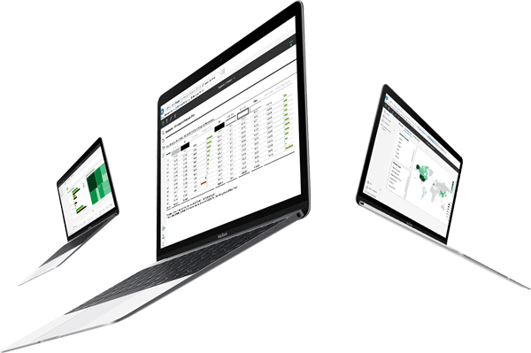 3 laptops with businessNavi screenshots